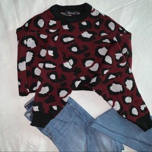 NWT Cheetah Print Batwing Crop Sweater